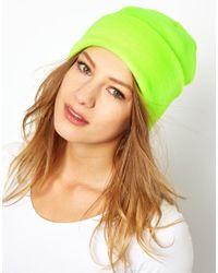 American Apparel - Green Neon Cuffed Beanie - Lyst