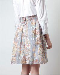 Carven Multicolor Paris Map Printed Woven Skirt