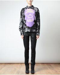 Christopher Kane Purple Frankenstein Printed Hooded Cotton Sweatshirt