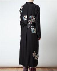 Dries Van Noten Black Role Embroidered Silk Robe