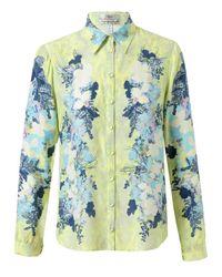 Erdem Yellow Montaigne Floral Printed Silk Blouse