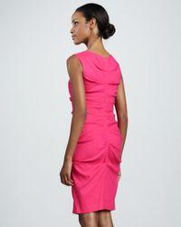 Nicole Miller Pink Ruched Linenblend Sheath Dress