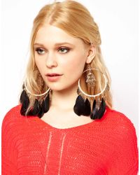 River Island - Multicolor Woven Feather Hoop and Charm Earrings - Lyst