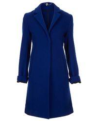 TOPSHOP Blue Premium Bobble Boyfriend Coat