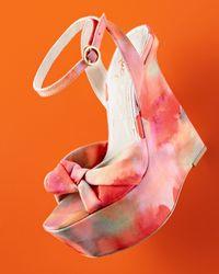 Alice Olivia Ilisa Watercolor Print Wedge Sandal Lyst