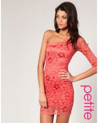 ASOS Collection Pink Asos Petite Lace One Sleeve Bodycon Dress