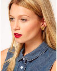 ASOS - Metallic Squiggle Heart Stud Earrings - Lyst