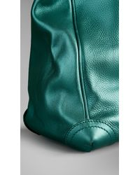 Burberry Green Metallic Leather Tote Bag for men