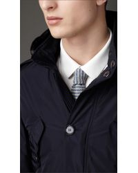 Burberry Blue Belted Technical Fabric Caban for men