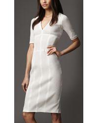 Burberry White Taped Seam Vneck Dress