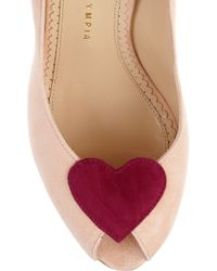 Charlotte Olympia Pink Delphine Suede Platforms