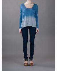 James Perse Blue Dip Dye Stripe Tshirt