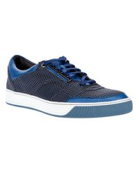 Lanvin Blue Punched Leather Sneaker for men