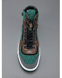 Lanvin Green Hitop Knit Trainer for men