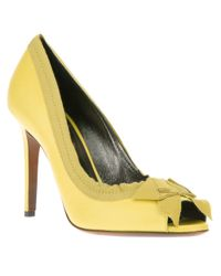 Lanvin Yellow Bow Peeptoe Pump