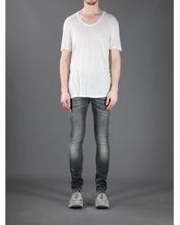 Neil Barrett Gray Skinny Stone Washed Jeans for men