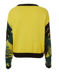 TOPSHOP Yellow Knitted Tropical Parrot Sweat