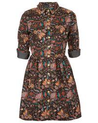 TOPSHOP Multicolor Studded Denim Shirt Dress