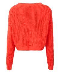 Topshop Knitted Textured Stitch Crop Jumper In Pink Lyst