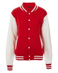 TOPSHOP Red Plain Varsity Jersey Bomber Jacket