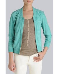 7 For All Mankind Green Bomber Jacket Leather