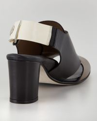 Anyi Lu Black Athena Slingback Sandal