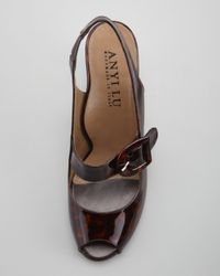 Anyi Lu Brown Tulip Patent Peeptoe Slingback Sandal Tortoise