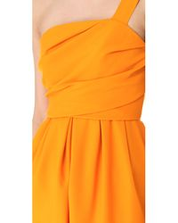 David Szeto Orange Samantha One Shoulder Dress