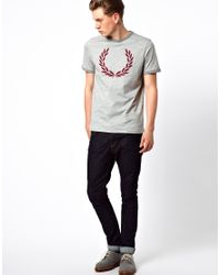 Fred Perry Gray Ringer Tshirt with Laurel Print for men