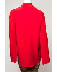 Givenchy Red Open Sleeve Button Down Blouse