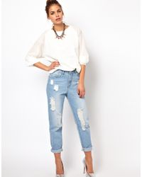 Glamorous Blue Boyfriend Jeans in Light Wash Distressed Denim