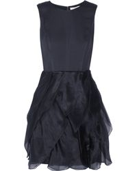 Halston Blue Ruffled Silkblend and Organza Dress
