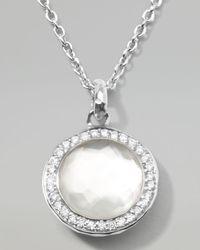 Ippolita Metallic Stella Lollipop Pendant Necklace In Mother-of-pearl Doublet With Diamonds