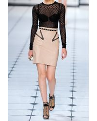 Jason Wu - Pink Meshdetailed Leather Pencil Skirt - Lyst