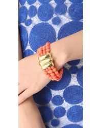 Kenneth Jay Lane Orange Beaded Bracelet