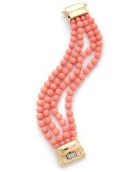 Kenneth Jay Lane - Orange Beaded Bracelet - Lyst