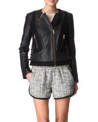 Maje Black Lacey Leather Jacket