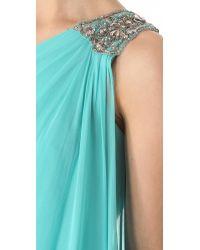 Notte by Marchesa Blue Cascade One Shoulder Dress
