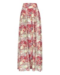 Reiss Red Lotto Maxi Printed Frill Skirt