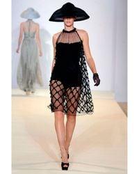 Temperley London Black Mini Lattice Ribbon Dress