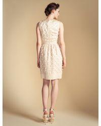 Temperley London Natural Lattice Ribbon Dress