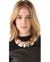 Tuleste | Pink Hammered Square Necklace | Lyst