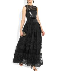 Valentino | Black Leather, Lace And Tulle Gown | Lyst