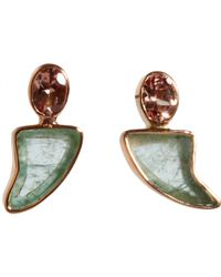 Dezso by Sara Beltran Green Garnet Emerald Shark Fin Stud Earrings