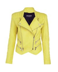 Balmain Yellow Quilted Leather Biker Jacket