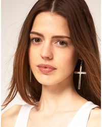 ASOS Collection | Metallic Asos Cross Earrings | Lyst