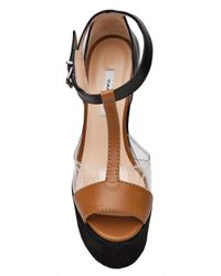 Carven Brown Tstrap Wedge