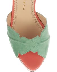 Charlotte Olympia Pink Suede Leaf Sandals