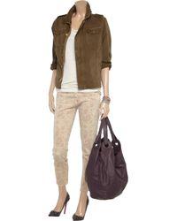 Current/Elliott Natural The Stiletto Paisley-Print Lowrise Skinny Jeans