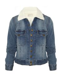 Current/Elliott Blue The Snap Stretch-Denim and Faux Shearling Jacket